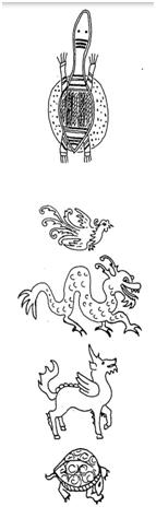 KhiLin, anka kuşu, kaplumbağa ve ejderha